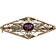 Vintage 10K Yellow Gold Brooch/Pin With Faceted Purple Amethyst!!!