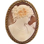 Large   Beautiful Victorian Style Hand Carved White Shell And  14 Karat  Yellow Gold Cameo Pendant/Pin