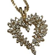 Vintage 14K Yellow Gold Chain With  Heart Pendant And Diamonds!