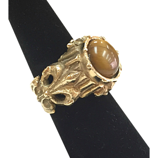 Vintage Men's 14 Karat Yellow Gold And Tiger's Eye  Heavy Ring