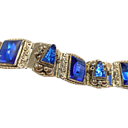 Vintage 925 Sterling Silver TAXCO   Bracelet From Mexico  With Blue Cobalt Glass Stones !!!!