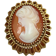 Vintage Cameo, Brooch,  In Solid 14 Karat  Gold Setting!!