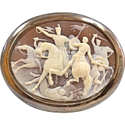 Antique Very Rare And Extra Large Cameo Pin/Pendant Of Sir Richard The Lionhearted In Battle !!!!