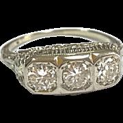 Original Art Deco 18K White Gold  Three Round 1.25 TCW Diamond  Ring !!!