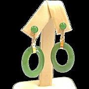 Vintage 14K Yellow Gold And Green Jadeite  Jade Hoop Drop Earring!!!