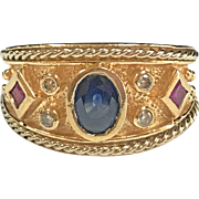 Vintage 14K Solid Yellow Gold Ring With Sapphire, Ruby And Diamonds!!!