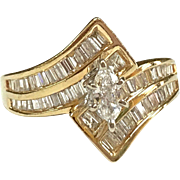 Vintage 14K Yellow Solid Gold And Diamond Women's Ring!!!