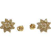 Stunning 14K Yellow Solid Gold And Diamond Flower Stud Earring!!!!