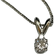 Beautiful 14K White Gold And  Diamond Pendant Necklace!!!