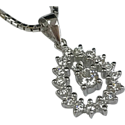 Vintage 18K Solid White Gold And Diamond Pendant Necklace!!!!