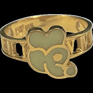 "Vintage ""RJ"" 18K Yellow Gold Mickey Mouse Atlas Design Ring!!"