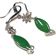 Vintage 18K White Gold And Imperial Jadeite Jade With Diamond Accents Drop Earring!!