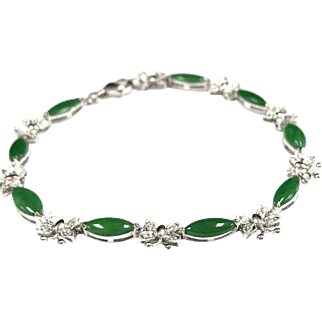 Vintage 18K White Gold Butterfly And Imperial Jadeite Jade Bracelet With Diamond Accents!!!