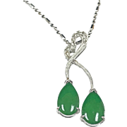 Beautiful Vintage 18K White Gold And Imperial Jadeite Jade Pendant Necklace With Diamond Accents!!