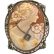 Stunning Sterling Silver And Hand Carved Shell Cameo, Woman With Flower Dress And Diamond Necklace!!