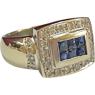 Vintage 14K Heavy White Gold Diamond And Blue Sapphire Ring!!!