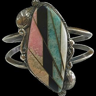 Native American Silver Bracelet Mosaic Inlaid Semi-Precious Stones