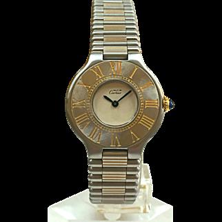 Vintage Cartier Must De 21 Stainless Steel & 18k Gold Ladies Quartz Watch