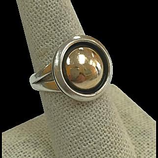 Native American Artie Yellowhorse Navajo 925 Silver, 14K Gold Ring