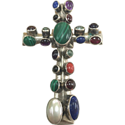 Vintage Navajo Sterling Silver  Signed Multi-Stone Cross Pendant