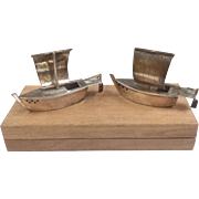 Vintage 925 Sterling Silver Sailboat Salt And Pepper Shakers With Wooden Box!!!!