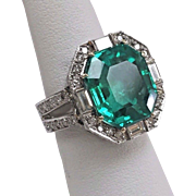 Estate 11.46 ct. Emerald, Diamond, 18 Karat Gold Ring AGL Certificate