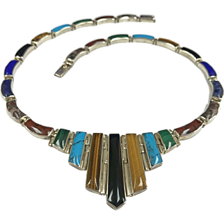Very Beautiful Vintage Mexico 970 Silver  TF-63 Taxco Multi Stone Bib Necklace!!!