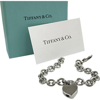 "Authentic ""Please Return To  Tiffany & Co.  New York 925"" Heart Padlock Lock Charm Silver Chain  Bracelet !!!!"