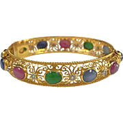 18K Yellow Gold Bangle  Women's Bracelet With Diamond And Multi  Gemstones
