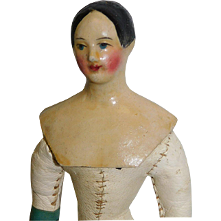 Antique German 7.5 Inches Milliners Model Papier-mache,  leather body w/ wooden limbs c 1840 – 60's