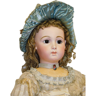"""Antique French Bisque CM Long Face Triste Bebe Jumeau """"13"""", brown pw eyes, pierced applied ears, 28.5 inches c.1890"""