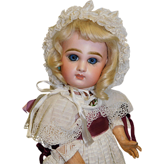 Antique French Bisque Tete Jumeau  17.5 inches  w/ marked head and body, blue paperweight eyes c 1880's
