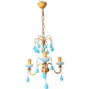 Vintage Chandelier Blue Opaline drops 1920 Beads 3 Lights Gouttes