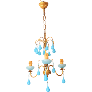 Vintage Chandelier Blue Opaline drops 1920 Beads 3 Lights Gouttes