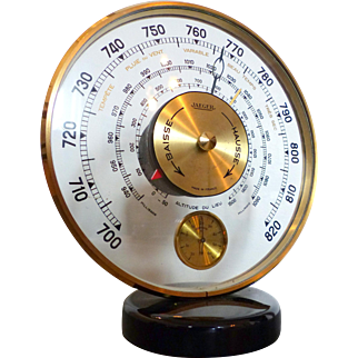 Vintage 1950's JAEGER Desk Barometer & Thermometer Made in France