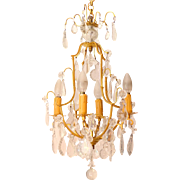 Vintage French  4 Light Bronze &  Cut Crystal Chandelier - circa 1920