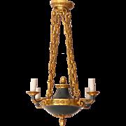 Vintage chandelier 4 lights Empire style gilded bronze 1930