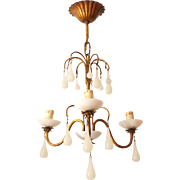 Vintage Chandelier  White Opaline drops 1920 Beads 3 Lights Gouttes
