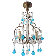 Vintage Petite Crystal Macaroni Beaded Chandelier Murano Blue Aqua Drops