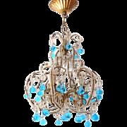 Vintage Petite Crystal Macaroni Beaded Murano Blue Aqua Drops Chandelier