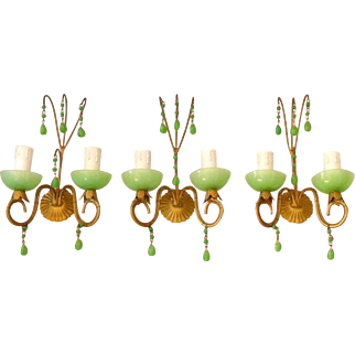 Vintage Set 3 sconces Beaded Murano RARE GREEN Opaline Drops Italian