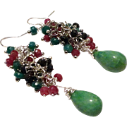 JFTS Natural Emerald, Sapphire & Ruby Earrings