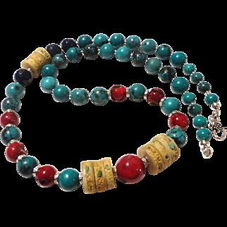 JFTS Natural Turquoise, Coral, Lapis Lazuli & Yak Bone Necklace Set