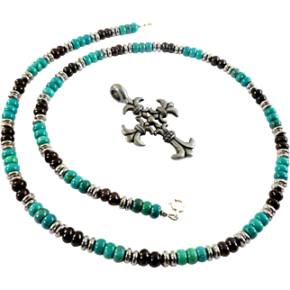 JFTS Natural Turquoise, Black Onyx & Hematite Men's Necklace