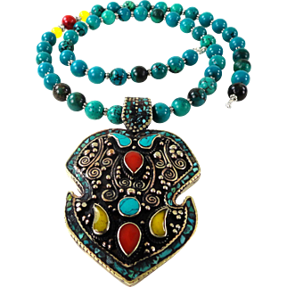 JFTS Natural Turquoise, Coral & Yellow Chalcedony Necklace W/Pendant