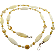 JFTS Genuine Mother of Pearl Necklace, earrings & Bracelet Set