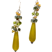 JFTS Green/Gold Colored Quartz, Apatite, Peridot & Ethiopian Opal Earrings