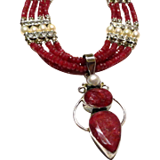 JFTS Natural Ruby & Cultured Freshwater Pearl Necklace W/Pendant