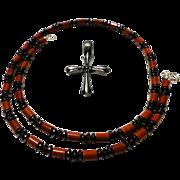 JFTS Men's Red Jasper, Garnet, & Hematite Necklace W/Pendant