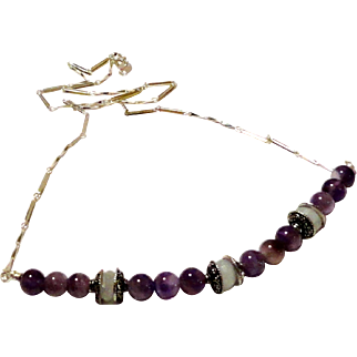 JFTS' Amethyst & Aquamarine Sterling Silver Necklace